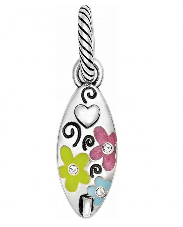 Brighton JC1122 Surfs Up Charm surfboard charm with flowers