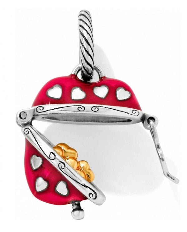 Brighton JC2673 Hidden Hearts Charm red heart charm that opens to four golden hearts