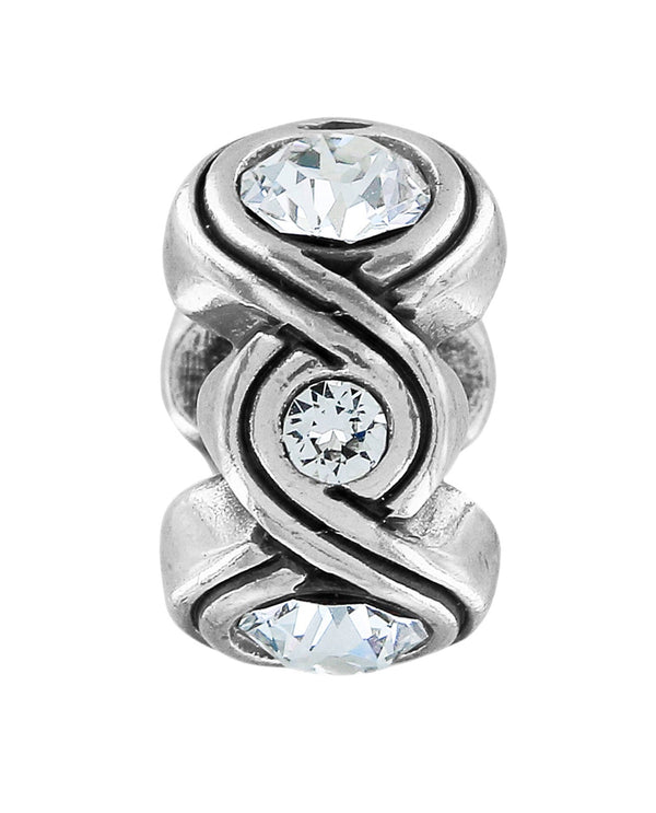 Brighton JC3121 Infinity Sparkle Bead silver infinite scroll filled with Swarovski