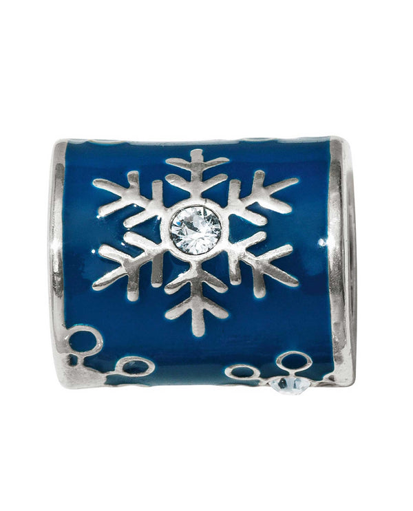 Brighton JC4630 blue Snowprints Bead with snowflakes and Swarovski