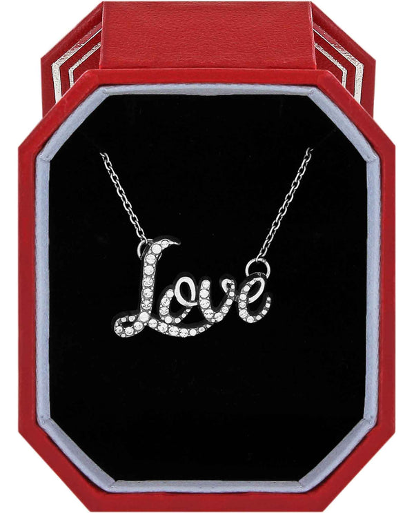 Brighton JD1471 Love Script Necklace Gift Box silver Swarovski crystal love necklace