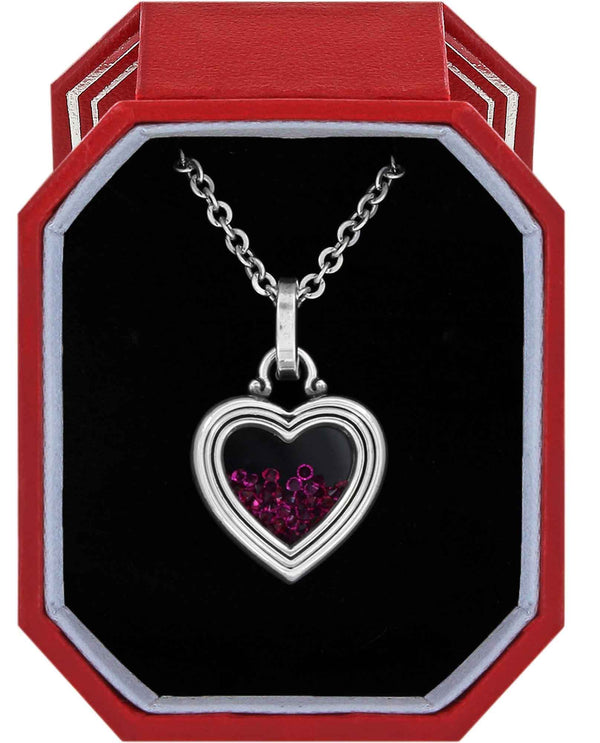 Brighton JD1481 Pure Love Mini Heart Necklace Gift Box silver and hot pink heart necklace