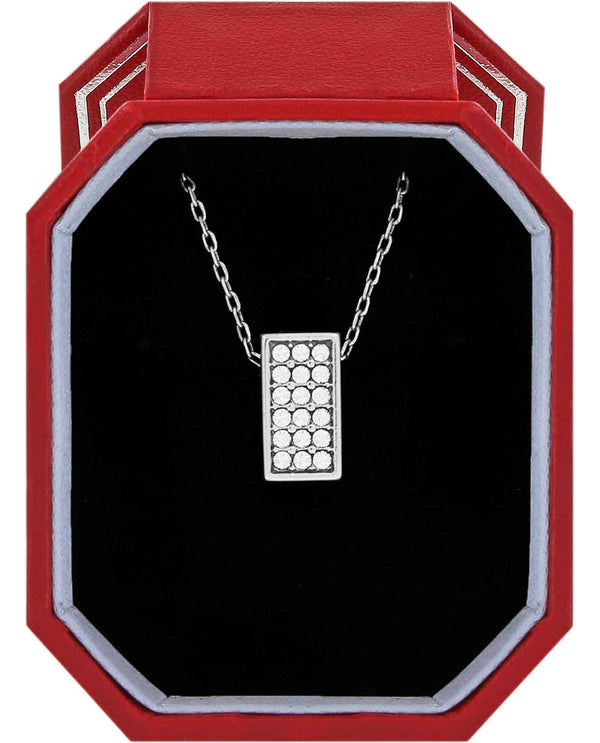 Brighton JD1541 Meridian Zenith Necklace Gift Box silver square Swarovski crystal necklace