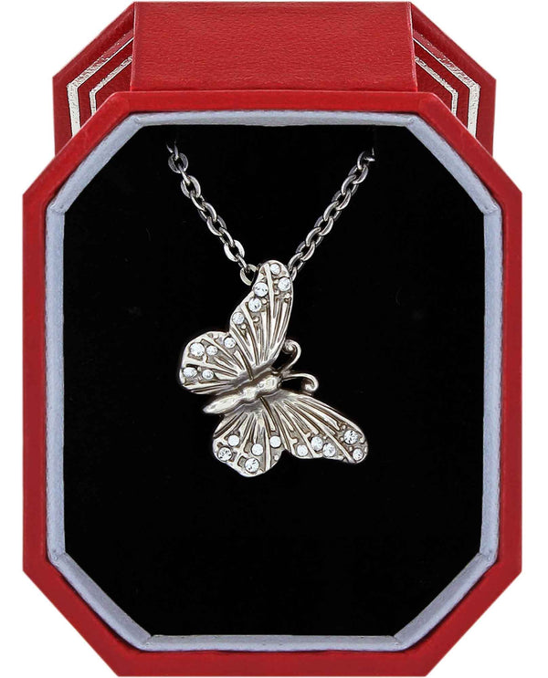 Brighton JD1601 Solstice Butterfly Necklace Gift Box silver Swarovski crystal butterfly necklace