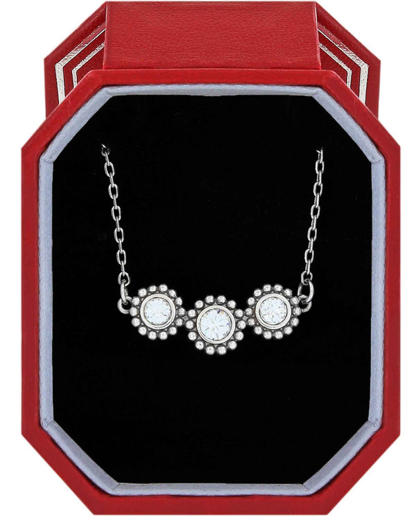 Brighton JD1621 Twinkle Triple Stone Necklace Gift Box delicate silver Swarovski necklace