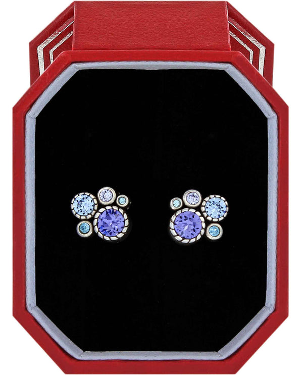 Brighton JD4383 Halo Post Earrings Gift Box purple and blue Swarovski crystal stud earrings