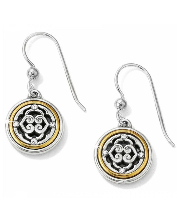Brighton JE8732 Intrigue French Wire round two tone medallion earrings