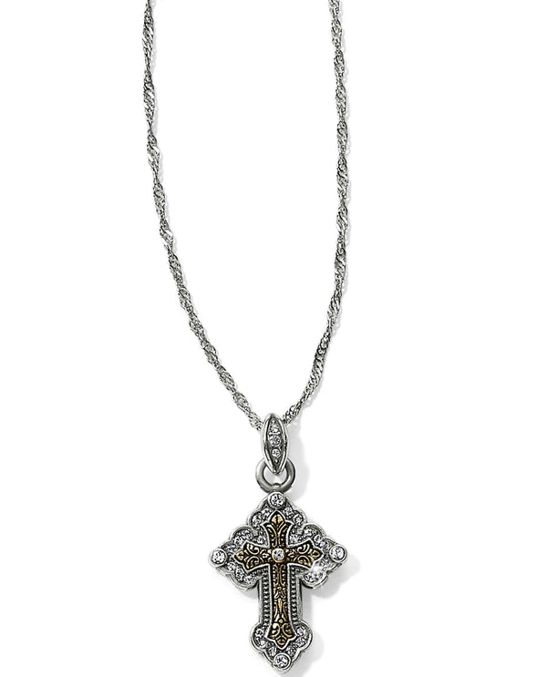 Brighton JL9052 Greek Petite Cross Necklace two tone cross necklace
