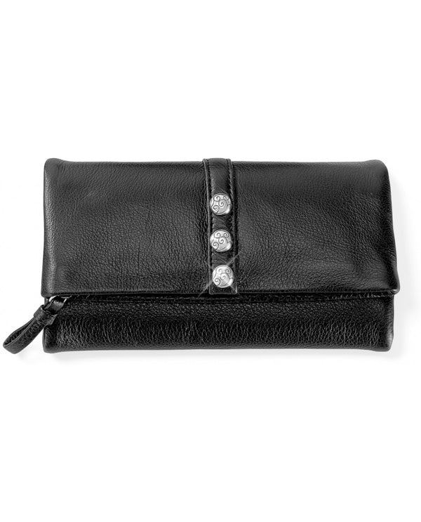Brighton T335A3 Nolita Shimmer Large Wallet soft black leather wallet with silver studs for women