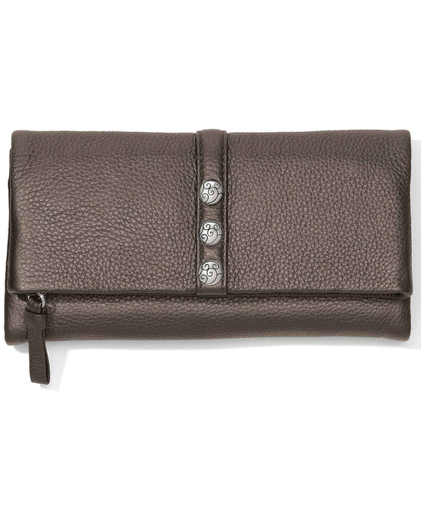 Brighton T335BP Nolita Shimmer Large Wallet Pewter soft leather wallet for women