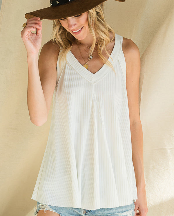 Bucket List T1033A Rib Knit Flowy Tank White
