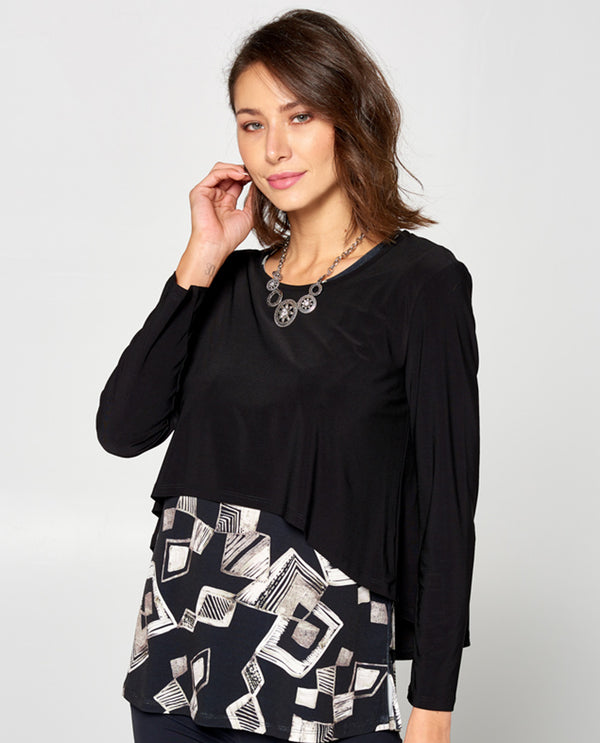 By JJ IT 137 Long Sleeve Popover Top Black