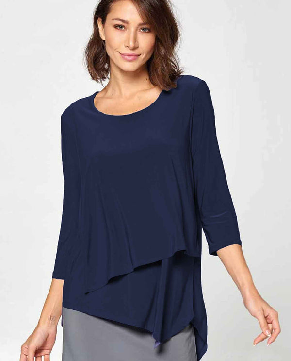 Navy By JJ IT126 Layer Front Tunic