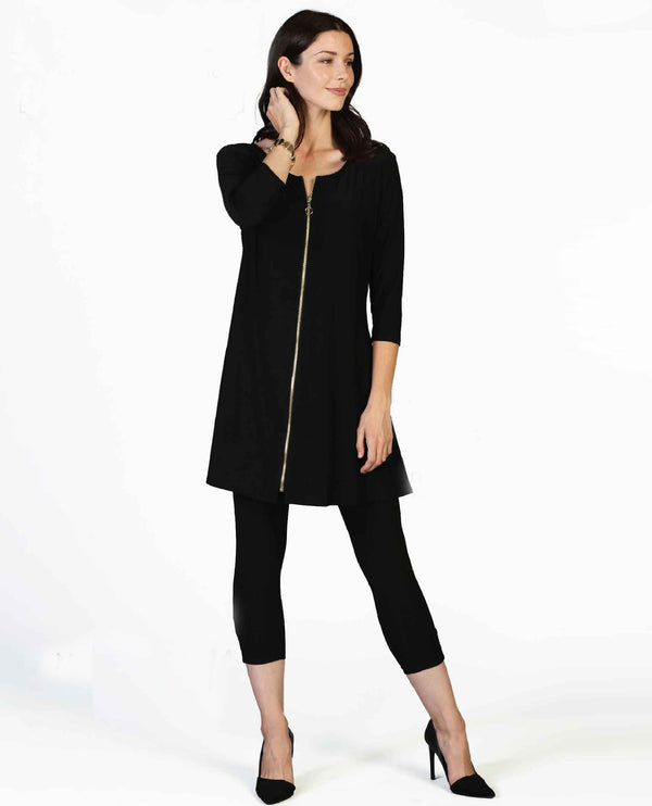 Black By JJ IT140-34 3/4 Sleeve Dress with Zipper Front