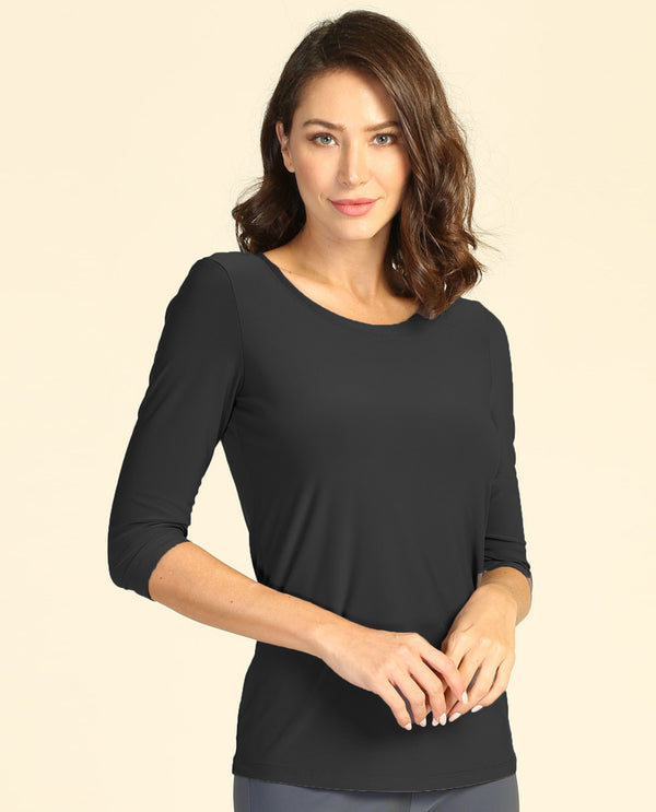 By JJ T-180 Round Neck Fitted Top Black