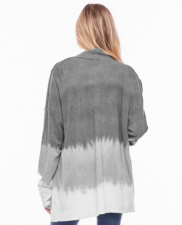 Ombre Thermal Cardigan Grey