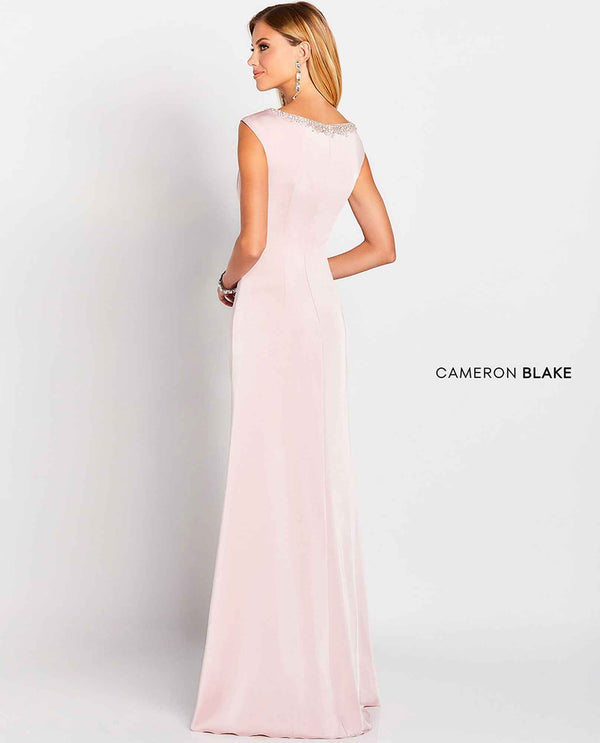 Cameron Blake 119647 Jewel Neckline Gown pink mother of the bride gown with jewel neckline