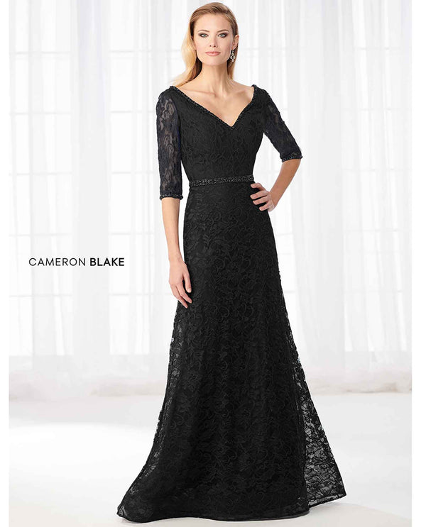 Cameron Blake 218610 3/4 Sleeve Lace Dress black lace mother of the bride gown with beaded waist