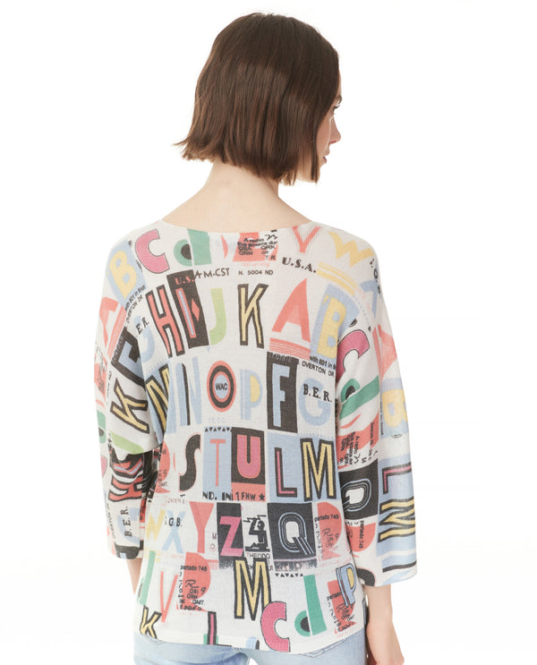 Charlie B C2219R-831A Letters Print Knit