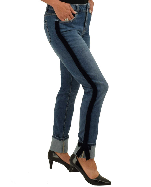 Charlie B C5123F-546A Ribbon Detail Rubbed Denim Indigo