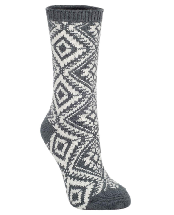World's Softest Socks Charcoal Aztec Crew