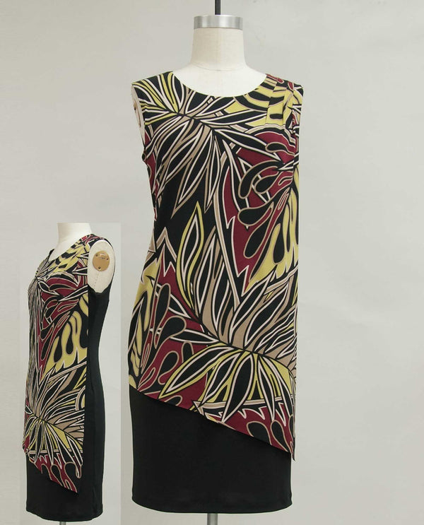Connected Apparel DT20779 Sleeveless Dress with Print Overlay