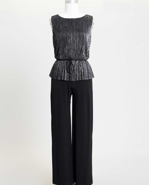 Connected Apparel N288013 Tie Waist Metallic Jumpsuit