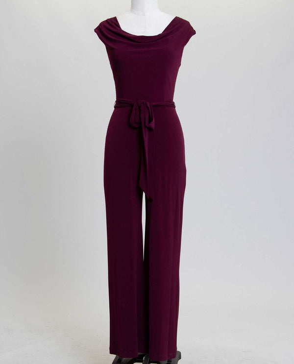 Connected Apparel T1318142 Sleeveless Jumpsuit wine purple wide leg jumpsuit