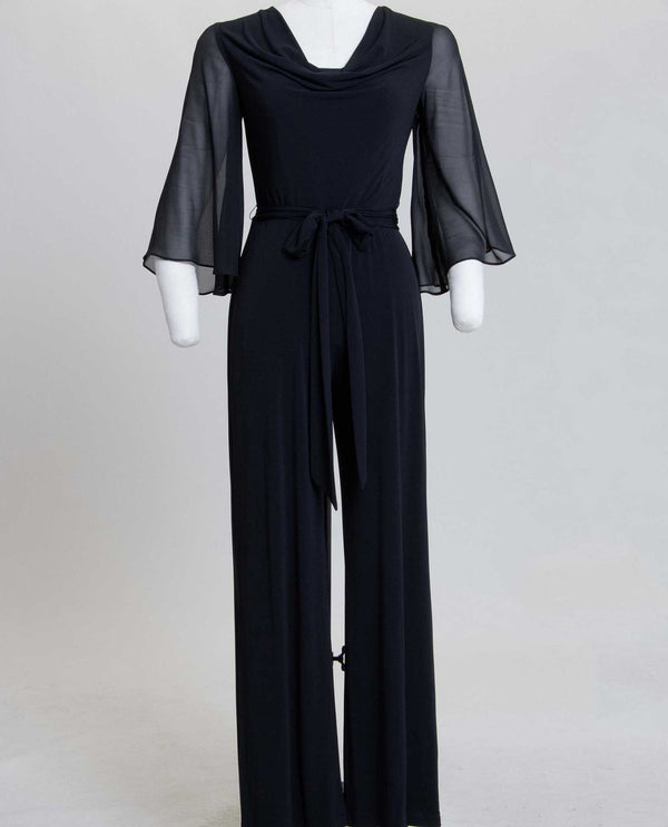 Connected Apparel T1318167 Jumpsuit with Tie Waist black wide leg jumpsuit with chiffon sleeves