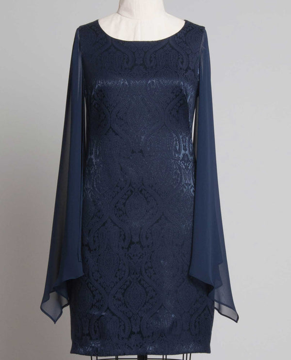 Connected Apparel TPW33482 Damask Capelet Sleeve Dress navy cape dress