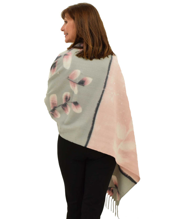 DAN-88 Pink Handpainted Look Cashmere Feel Scarf