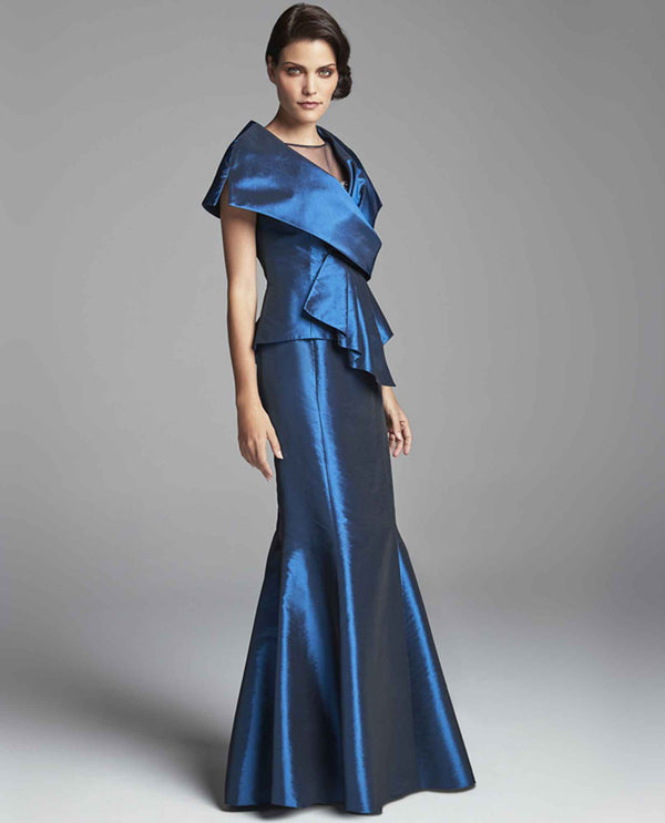 Daymor Couture 467 Capelet Gown with Beading Lagoon blue mermaid style metallic dress