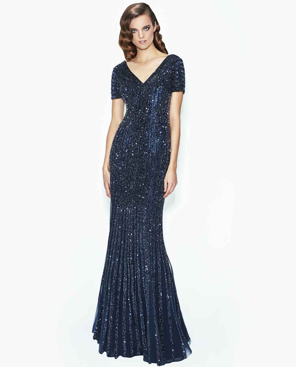Daymor Couture 574 Beaded V Neck Dress navy blue sparkling flared dress with short sleeves
