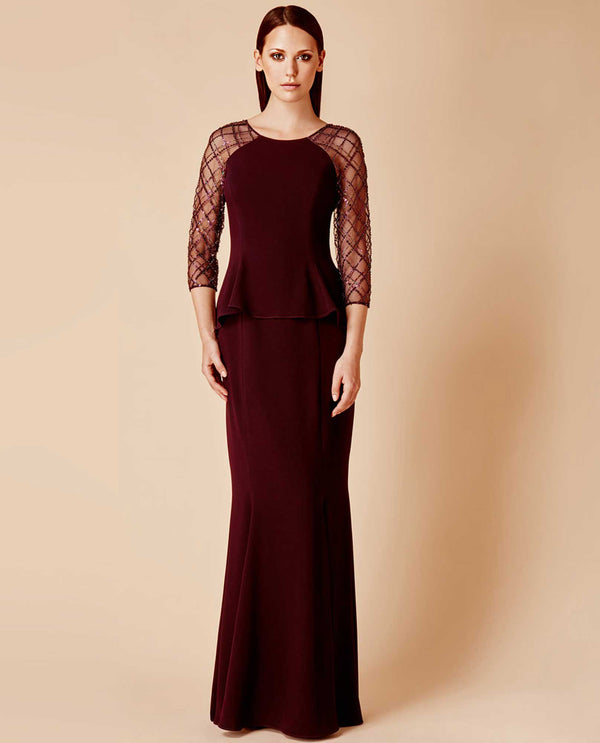 Daymor Couture 650 Beaded Sleeve Dress aubergine 3/4 sleeve evening dress