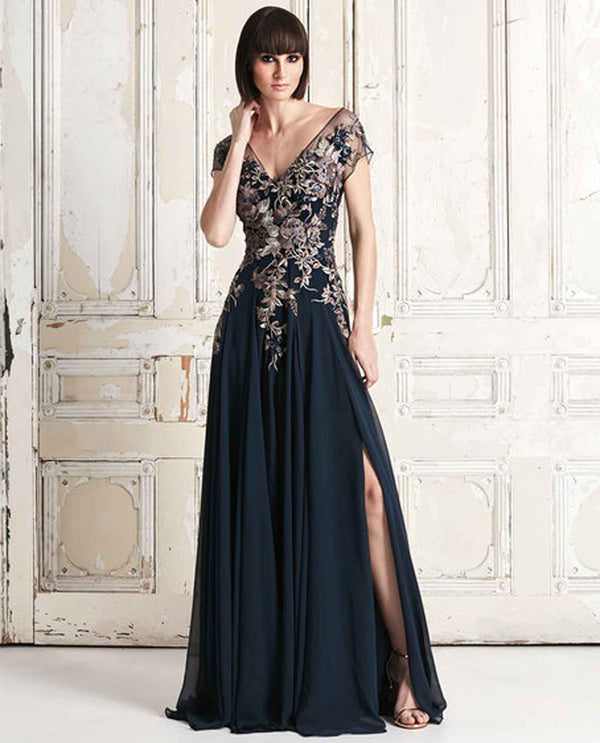 Daymor Couture 758 Embroidered V Neck Dress navy timeless beaded ball gown with side slit