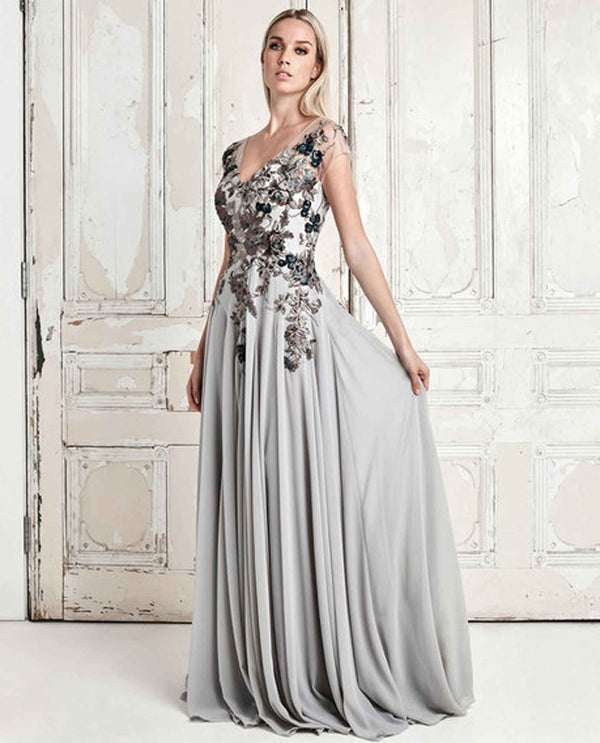 Daymor Couture 758 Embroidered V Neck Dress putty timeless beaded ball gown with side slit