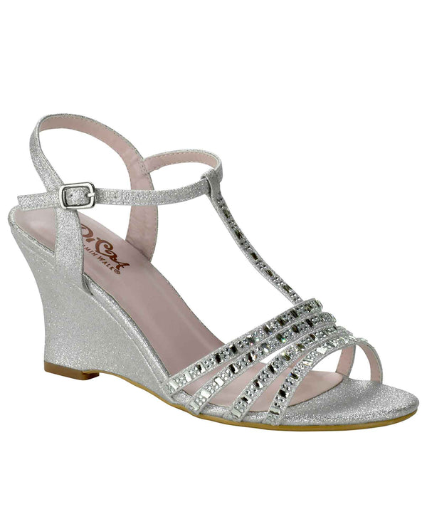 Diva By Benjamin Walk D105 Diva Sandals shimmering silver open toe wedge sandals
