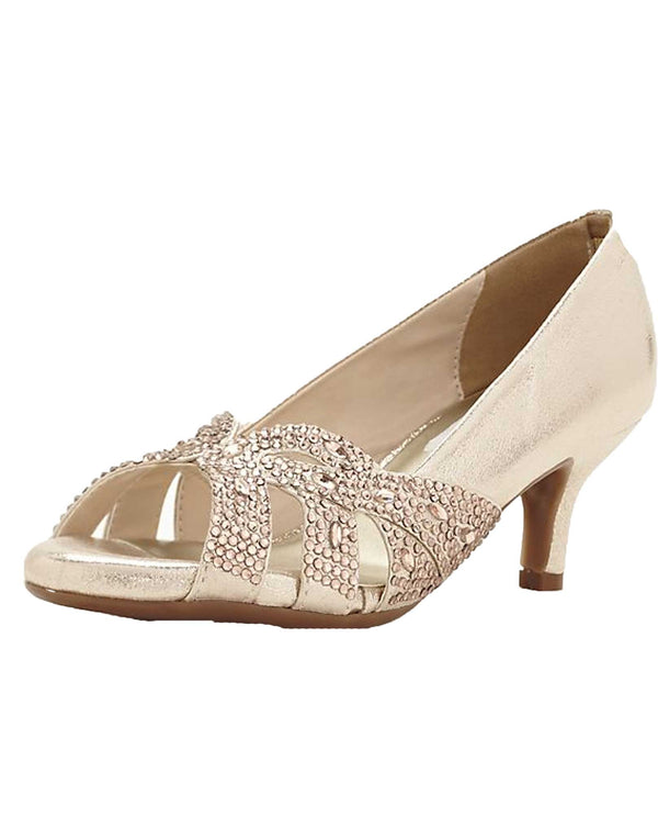 Dyables Tracy Beaded Pump champagne peep toe pump with rhinestones
