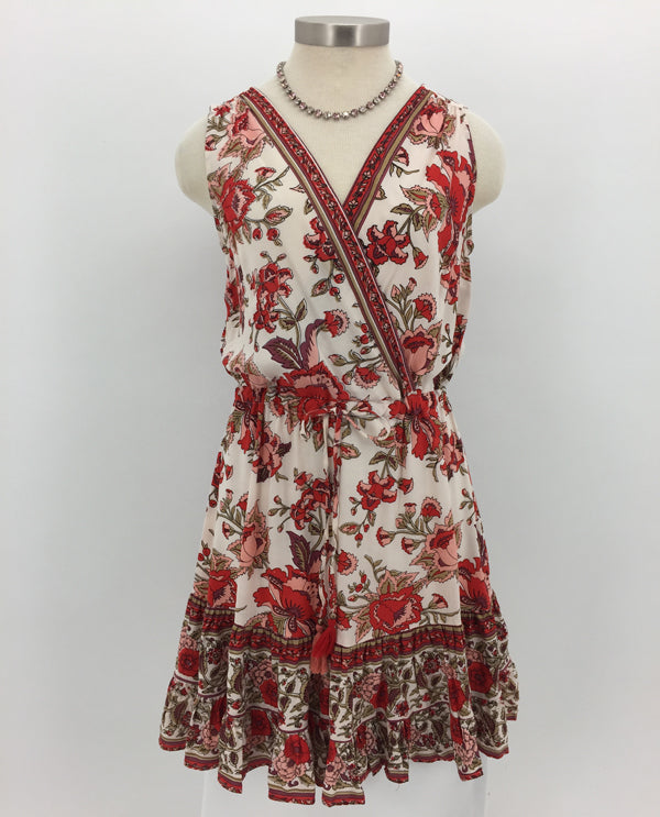 Red Multi-Colored Sleeveless Print V Neck Dress Front View