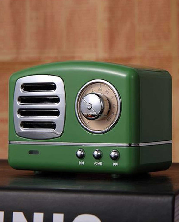 Eb1085 Antique Radio Bluetooth Speaker Green