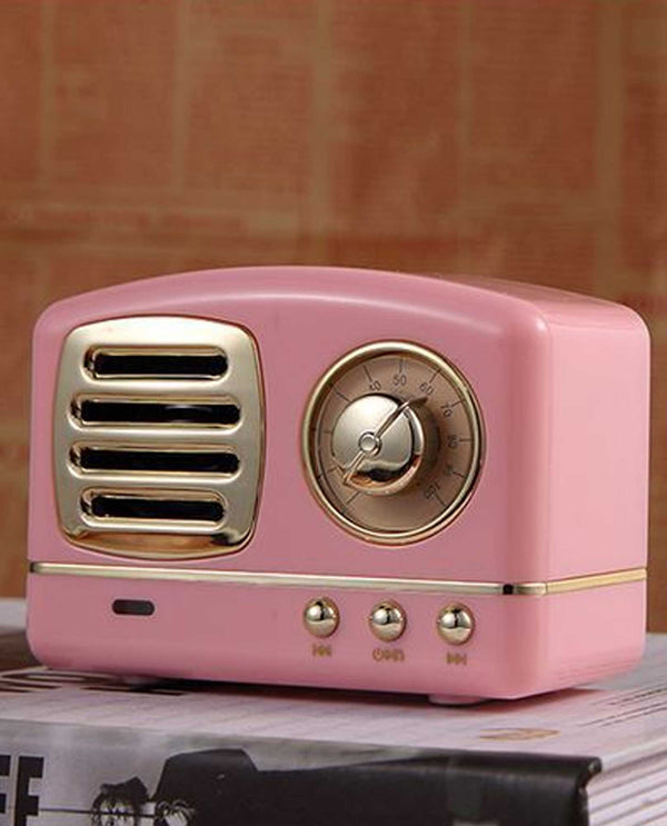 Eb1085 Antique Radio Bluetooth Speaker Pink