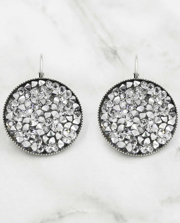 Ember Crystal Rocks Earrings by Rachel Marie Designs silver night round Swarovski crystal earrings