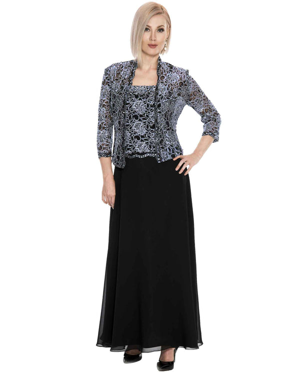 Emma Street 1116540 Beaded Lace Jacket Dress Black Silver Tea Length Chiffon Dress with Jacket