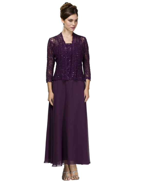 Emma Street 1116540 Beaded Lace Jacket Dress eggplant dark purple tea length chiffon dress