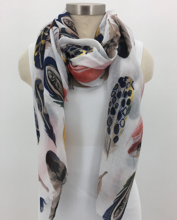 PMLT Feather Scarf with Fringe