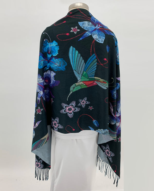 Black Blue Floral & Hummingbird Shawl
