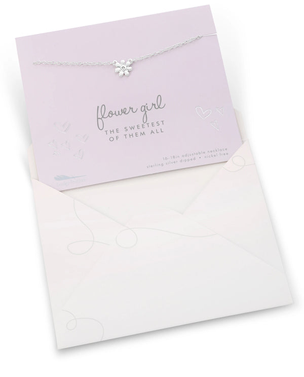 Flower Girl Necklace Card Silver