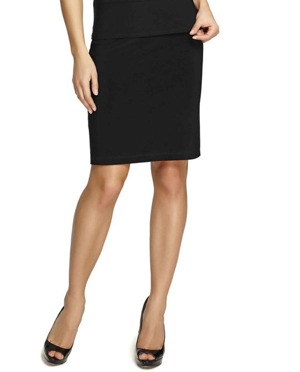 Frank Lyman 079 Tube Skirt basic black pencil skirt with elastic waistband for women