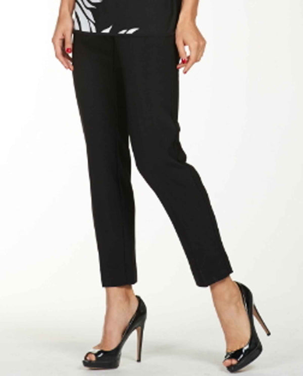 Frank Lyman 176016 Slit Hem Pants black pull on pants with small slits on the back
