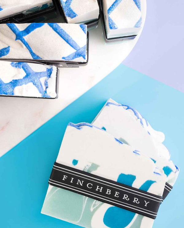 FinchBerry Fresh & Clean Soap cream colored handmade vegan soap with glittery blue stripes